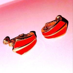 Vintage NAPIER Red & Gold Enamel Clip On Earrings